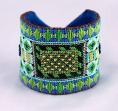 Needlepoint Cuff Bracelet Kit in Teal. $25.00, via Etsy.