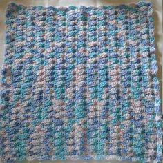 Baby Blue Hand Crocheted Baby Doll Blanket Afghan