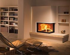 Find out all of the information about the BRUNNER product: closed wood hearth / corner / metal LEFT/RIGHT. Contact a supplier or the parent company directly to get a quote or to find out a price or your closest point of sale. Corner Gas Fireplace, Home Fireplace, Living Room With Fireplace, Fireplace Design, Home Living Room, Interior Design Layout, Freestanding Fireplace, Room Setup, House Design