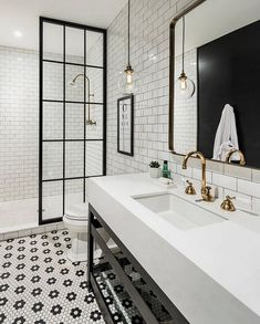 Jorie Martin saved to home Awesome Black And White Subway Tiles Bathroom Design Creative Industrial Bathroom Renovation Ideas To Nail Your Home Bathroom Tile Designs, Bathroom Interior Design, Home Interior, Tiled Bathrooms, Bathroom Layout, Bathroom Mirrors, Shower Designs, Bathroom Hanging Lights, Pendant Light In Bathroom