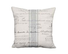 Grey French Country Famous France Signature Script Pillow - 18x18 20x20 22x22 24x24 26x26 28x28 30x30 32x32 Inch Linen Cotton Pillow Cover by artanlei on Etsy