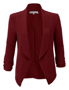 Sharpen your wardrobe with this lightweight ruched sleeve open front blazer jacket. A softly draped open-front silhouette softens the look while the ruched sleeves adds a modern touch to this blaz Blazer Outfits Casual, Dress Outfits, Dresses, Look Blazer, Blazer Dress, Looks Plus Size, Work Attire, Blazers For Women, Dress Jackets For Women