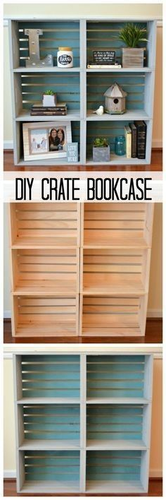 Diy crate bookcase, diy furniture, bookcase, unfinished crates, michaels, a.c. Moore, Amazon, living room, family room, dining room,  bedroom, kitchen,  bedroom, basement, office , storage, diy home decor, farmhouse, rustic,  diy, decor easy to make #afflink