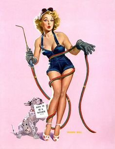 Pinup - Vaughan Bass - blonde bombshell pin up girl learning to weld with help from her pet dalmation puppy