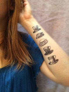 5 Vintage Teacup Temporary Tattoos SmashTat by SmashTat on Etsy, $9.00