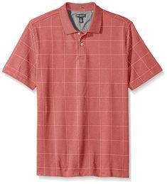 ce6087797d9f Van Heusen Men s Short Sleeve Printed Windowpane Polo Shirt at Amazon Men s  Clothing store