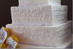 Love the white on white text on this wedding cake