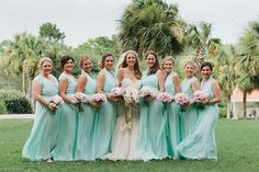 A Romantic Blush, Mint and Gold Wedding Mint Bridesmaid Dresses, Wedding Dresses, Bridesmaids, Mint Gold Weddings, Pink Bouquet, Bouquets, Wedding Planner, Groom, Reception