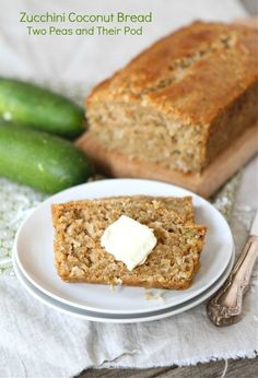 Zucchini Coconut Bread made with Coconut Oil from www.twopeasandtheirpod.com #recipe #zucchini