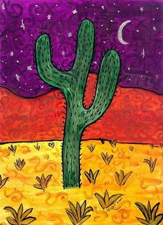 Recreate this picture by letting toddlers fingerpaint paper with dark blue (sky), sprinkle on yellow/white sand at bottom, red sand above, and cut out their handprint from green paper to glue in center. Cactus Drawing, Cactus Painting, Cactus Art, Cactus Plants, Watercolor Cactus, Cactus Flower, Kunst Portfolio, Southwestern Art, Desert Art
