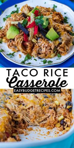 This easy Chicken Taco Rice Casserole is an easy dump and bake recipe that is ready in no time! It's filled with our favorite taco rice ingredients like chicken, chunky salsa, taco seasoning, corn, black beans, sour cream, cheese, and rice! via @easybudgetrecipes Easy Holiday Recipes, Best Dinner Recipes, Budget Recipes, Budget Meals, Grilling Recipes, Slow Cooker Recipes, Side Dish Recipes, Soup Recipes, Taco Rice