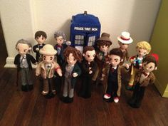 <3 craftyiscool.com- Pattern for 11 doctors and the Tardis!  Oh, I can't wait to get better at crochet so I can buy this and make them! This lady's stuff is AMAZING! I want to be just like her when I grow up!