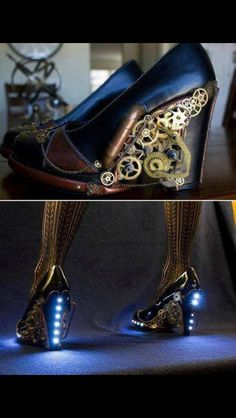 Steampunk shoes... I want these so I will make myself some. Muah hahaha!