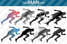 Silhouette of running man. runMANrun by Matrosovv on @creativemarket #silhouettes #people #characters #isolated #illustration #vector #template #sport #run #man