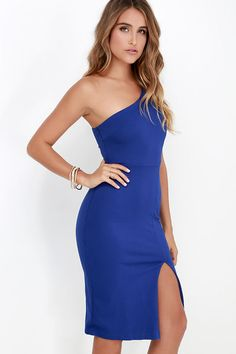 6b8a0a8225ad One-Way Ticket Royal Blue One Shoulder Midi Dress at Lulus.com! One