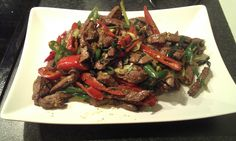 Chilli and liver, very tasty.  Served with green, red chilli and springonion. With a sidedish of rice.