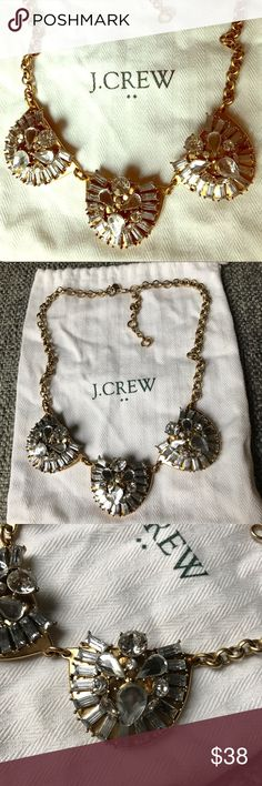 "J.Crew Gemstone Cluster Statement Necklace Beautiful J.Crew Gemstone Cluster Statement Necklace. Gold tone chain with silver gemstones.  Total length of Necklace is 21""  EUC- no missing gemstones. Comes with pouch.   FAST shipping! Same or next day shipping, always!! Thanks for looking! J. Crew Jewelry Necklaces"
