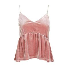 Peplum Velvet Camisole by Nobody's Child ($20) ❤ liked on Polyvore featuring intimates, camis, velvet camisole, pink cami and pink camisole