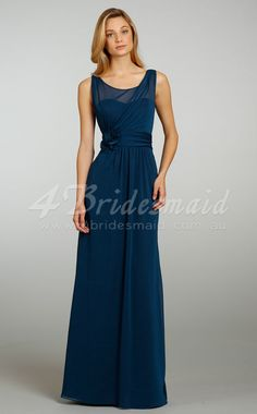 A-line Scoop Chiffon Floor-length Ink Blue Bridesmaid Dresses(BD206)