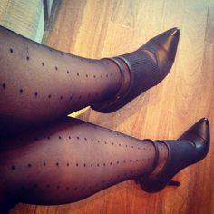 Stockings nylon bas collants polkadots me ootd