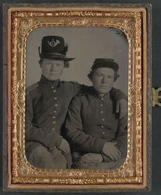 (c. 1861-1865) Brothers Private Hiram J. and Private William H. Gripman of Company I, 3rd Minnesota Infantry Regiment.