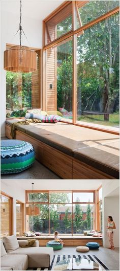 Are you looking for ideas for your window nook? We've got a collection of incredible window nook ideas and designs. Living Room White, Living Room Windows, White Rooms, New Living Room, Bedroom Windows, Storage Bench Seating, Corner Seating, Wood Storage, Storage Ideas