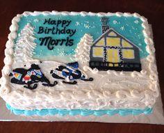 Winter snowmobile buttercream birthday cake