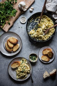 chickpea flour alfredo with watercress and chives | two red bowls
