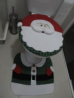 Papai Noel no vaso do banheiro - Festa, Sabor  Decoração