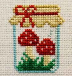 Mushroom Jar Cross Stitch Pattern by SnailFishesStitches on Etsy Small Cross Stitch, Cross Stitch Kitchen, Cross Stitch Designs, Cross Stitch Patterns, Cross Stitch Embroidery, Embroidery Patterns, Hand Embroidery, Pixel Art, Tampons