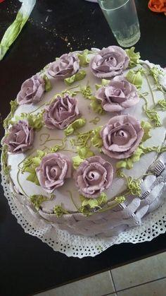 Torta canasta con flores