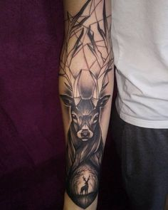 Meaning Deer Tattoo for Men and Girls: 60 Years - Deer Tattoo Meaning For Men And Girls: 60 Photos Stag Tattoo Design, Bow Tattoo Designs, Deer Tattoo, Leg Tattoo Men, Arm Tattoos For Guys, Forearm Tattoos, Sleeve Tattoos, Raven Tattoo, Armband Tattoo Mann