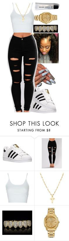 """You See Me"" by queen-sugah900 ❤ liked on Polyvore featuring adidas, Topshop, Versace and Bobbi Brown Cosmetics"