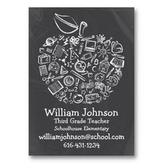 Teachers Apple Business Card School subjects and symbols create this unique cute apple on a blackboard. The chalkboard on back can be removed if needed. Original Illustration by pj_design.