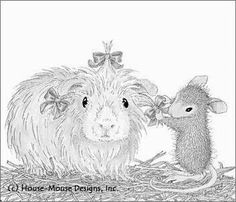 House Mouse putting hair bows on a bunny. Doodle Coloring, Colouring Pics, Free Coloring, Coloring Pages For Grown Ups, Adult Coloring Pages, Coloring Book, Christmas Card Pictures, Christmas Cards, House Mouse Stamps