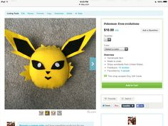 Get jolteon from Pokemon/ go get it at  https://www.etsy.com/shop/BlankArtistCrafts?ref=hdr_shop_menu