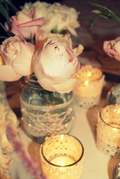 Wilderness Ridge Wedding: mason jars and lace...so vintage! Yes please!
