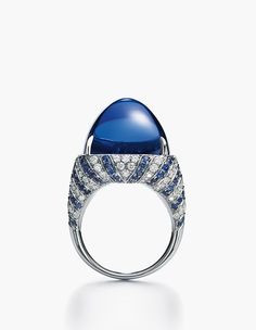 Tiffany and Co Blue Book 2016 - a sugarloaf cut tanzanite ring with diamonds and sapphires