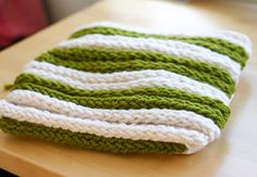 finger knitting from t-shirt yarn --- made into a pillow