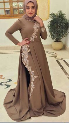 Beautiful hijab style - Another! Muslim Wedding Dresses, Eid Dresses, Event Dresses, Hijab Evening Dress, Hijab Dress Party, Eid Outfits, Dress Outfits, Fashion Dresses, Simple Long Dress