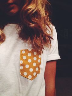 yellow polka dot pocket tee