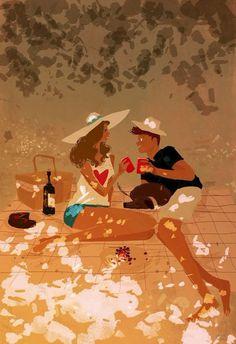 A little buzz, a little chirp, a little flirt Art by Pascal Campion Pascal Campion, 4 Image, Anime Chibi, Cartoon Drawings, American Artists, Flirting, Cute Couples, Amazing Art, Fantasy Art