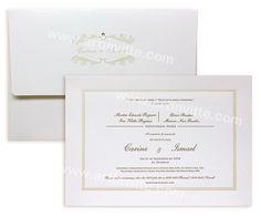 Convite de casamento chique e elegante, em branco com pérola.