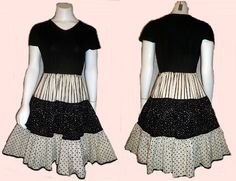 VINTAGE 80s TONI PETITE WESTERN ROCKABILLY CIRCLE SKIRT SWING DRESS SZ S offered by  baronofbop on ebay