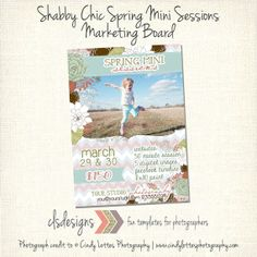 Spring Mini Sessions Marketing Board by caseysnyderdesigns on Etsy, $8.00  Simple Spring Blessings Photo Card Template by caseysnyderdesigns, $8.00  photos by Cindy Lottes Photography