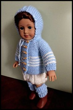 American Girl Doll Clothes : Blue and cream acrylic hooded jacket / hoodie. An original design by AUSSIEKNITWIT, $25.00