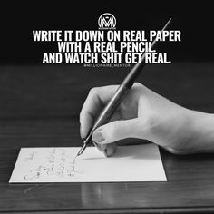 Writing your goals down on paper or whiteboard can have an effect 3 X greater than typing them out on a keyboard. by millionaire_mentor Millionaire Mentor, Get Real, Write It Down, Pen And Paper, Entrepreneurship, Facts, Goals, Thoughts, Writing
