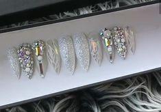 @pelikh_ ideas nails Glam Nails, Bling Nails, Stiletto Nails, Beauty Nails, Silver Nails, Gorgeous Nails, Love Nails, Pretty Nails, Perfect Nails