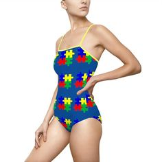 Women's One Piece Swimsuits, Spandex, One Piece For Women, Swimmers, Autism, Vivid Colors, Strength, Construction, Running