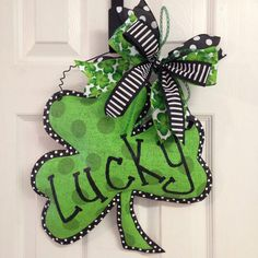These cute door hangers are made from hand painted stuffed burlap perfect for St. Patricks Day. These measure 18 X16 and are perfect for